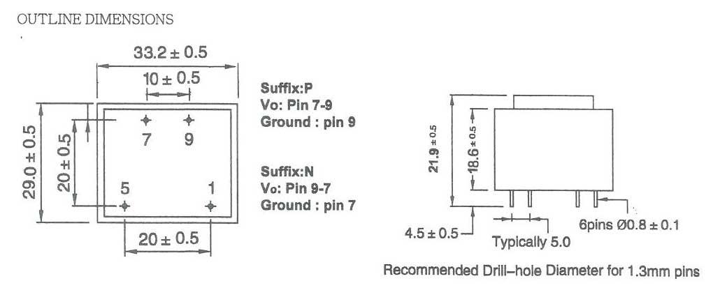 Outline per Trasformatori DC in BOX EI30